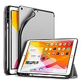 ESR Stifthalter Hülle Kompatibel mit iPad 10,2 2019 Hülle für iPad 7. Generation - Weiches Flexibles TPU Smart Case Cover mit Pencil Halter - Pencil Hülle für iPad 7 10.2 Zoll - Grau