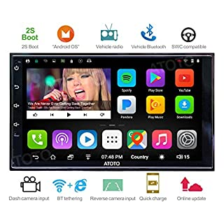 ATOTO [2017NEW] A6 2DIN Android Car Navigation Stereo with Dual Bluetooth & 2A Charge -Premiun A62711PB 1G/32G Car Entertainment Multimedia Radio,WiFi/BT Tethering internet,support 256G SD &more