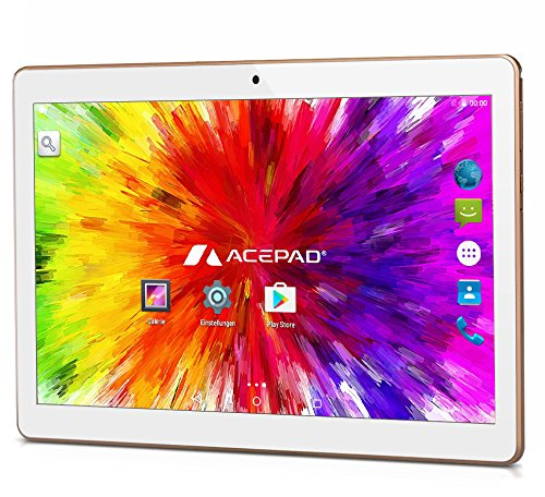 ACEPAD A96 10 Zoll (9.6″) Tablet PC 3G (Dual-SIM) 48GB Android 7.0 Nougat IPS HD 1280×800 Quad Core WIFI WLAN USB SD (Weiß)