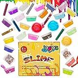 Joyjoz DIY Slime Kit, 24 Arcilla de Cristal Transparente Limo con Varias Decoraciones como Bolas Coloridas de Espuma y Polvo Luminoso, Regalo Creativo Juguete para Niños