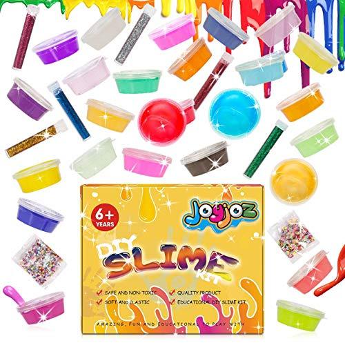 Joyjoz DIY Slime Kit Nicht-Klebrig ungiftige Selber Machen Schleim Set 24 Farben Crystal Clay Schlamm, Bunte Schaum Bälle, Glitzer Powder, und (Finger)Nagelscheibchen Stressabbau Lernspiel(24 Farben)