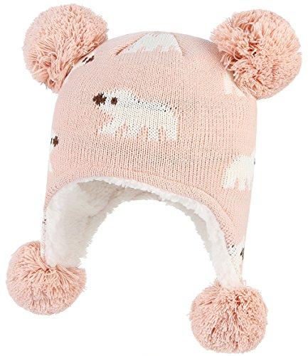 2158a2c56fb GEMVIE Bonnet Bébé Enfant Hiver Unisexe Chapeau à Pompon Cache Oreille Rose  6-12 Mois