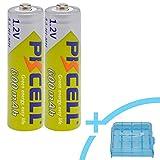 PKCELL Ni-MH Mignon Akku AA 600mAh/1.2V Rechargeable wiederaufladbar + RUHRBASIS Aufbewahrungsbox/Batterie-Box - 2er