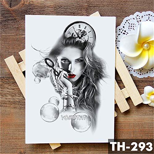 tzxdbh Spitze Feder Maske Mädchen Tattoo-Aufkleber Rose Schädel Traurig und schöne wasserdichte Tattoo Kunst Gefälschte Tätowierung Für Frauen 2 Stücke-