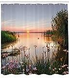 Abakuhaus Duschvorhang, Sonnenuntergang am See Frühlings Blumen Landschaft Foto Natur Aussicht als Druck Mehrfarbig, Blickdicht aus Stoff mit 12 Ringen Waschbar Langhaltig Hochwertig, 175 X 200 cm