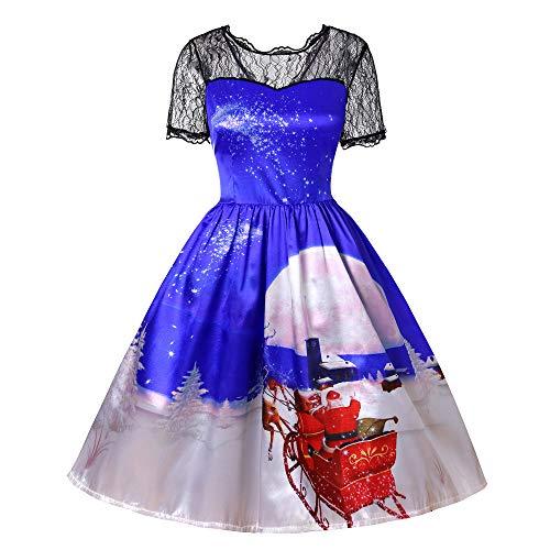 SEWORLD Weihnachten Vintage Christmas Frauen Modus Mode Retro Weihnachten Frauen Kurzarm Spitze Patchwork Drucken Vintage Kleid Party Kleid(X5-blau,EU-40/CN-2XL)