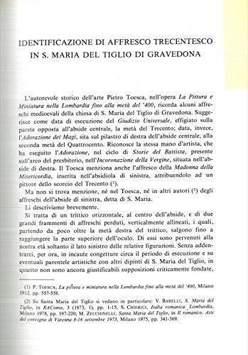 Identificazione di affresco trecentesco in S. Maria del Tiglio di Gravedona.