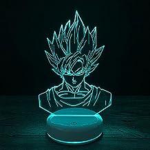 Wmshpeds Base cerámica blanco adulto Goku 3D colorido toque de luz LED noche visual con control remoto o añadir baterías