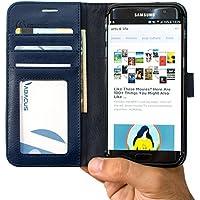 S7 Edge Coque, Abacus24-7 Galaxy S7 Edge Etui Portefeuille en Cuir écologique avec Poches pour Carte d'identité ou Bancaire - Samsung Galaxy S7 Edge Coque, Bleu