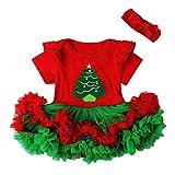 Famille 1 Pcs Petites Filles Romper, Robe de Princesse de Noël Et Vêtements de Cheveux (18-24Mois, RougeA)