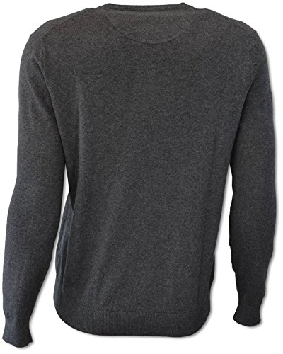 Carlo Colucci Basic Pullover in Baumwoll-Kaschmir-Mischung Anthrazit