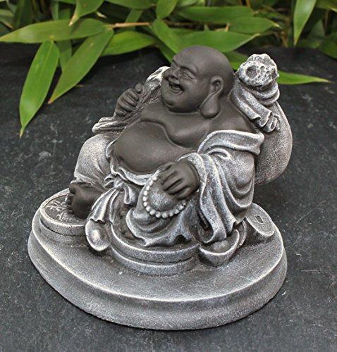 Glücksbuddha Figur – Schwarz/Schiefergrau - 4
