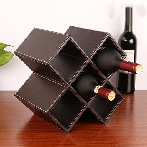 Weinregal, Europäischen Kreative MDF Und Pu-Leder Weinregal Weinkühler, Home Weinregal (Farbe : Brown, größe : Five Grid) (Brown-leder-bücherregal)