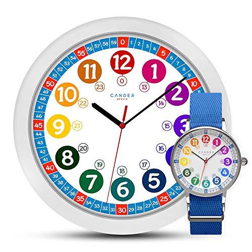 MNU 1030 Kinderwanduhr Wanduhr und MNA 1030 J Armbanduhr Kinder Armbanduhr Kinderuhr Lernuhr Jungen