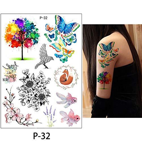 Fleur bird decal adịgboroja women Ụmụ nwoke mee n'onwe gị henna art art tattoo kere butterfly tree alaka vivid nwa oge mkpịsị sticker 21x15cmx6pc