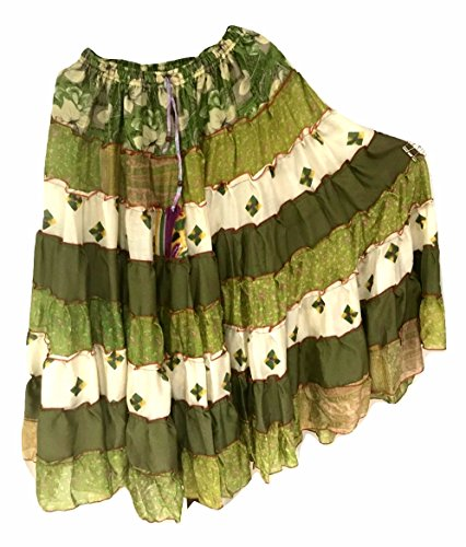 9 Yard Tribal Gypsy Maxi Tiered Rock Bauchtanz Röcke Silk Blend Banjara Passend für S M L 404
