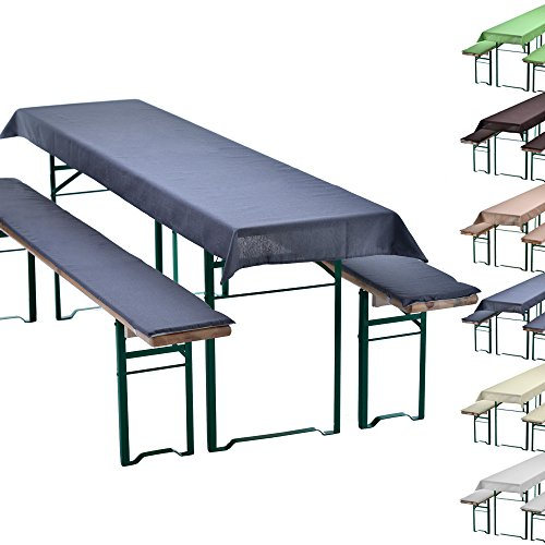 Uni-set de braserie set de 3 nappe pour table de braserie + 2 coussins d'assise matelassés - choix des couleurs & dimensions, Couleur:Gris, Taille:240 x 90 cm