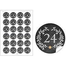 24 STICKER helltürkis mit Weihnachtskranz 24 Adventskalenderzahlen in mint