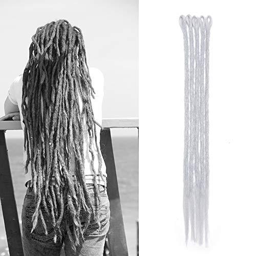 Sego dreadlock extension treccia 5 pezzi [grigio argento] rasta dread da donna capelli lunghi sintetici braiding hair fibre crochet 50cm 20 inch