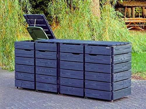 4er Mülltonnenbox / Mülltonnenverkleidung 120 L Holz, Deckend Geölt Anthrazit Grau - 3