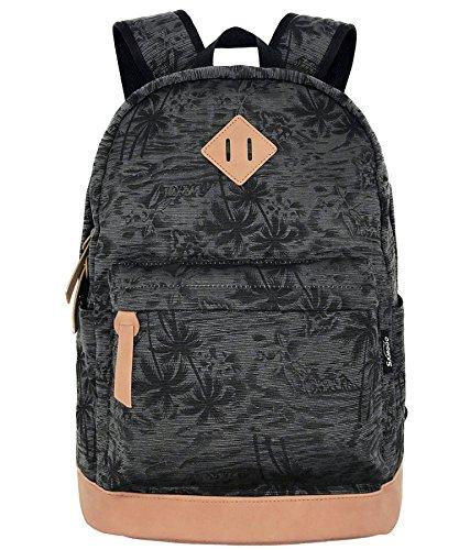 SAMGOO Unisex Leinwand Einfache Rucksäcke Daypack mit 15.6 Zoll Laptopfach Freizeitrucksack Schulrucksack (Schwarz Kokosnussbäume)