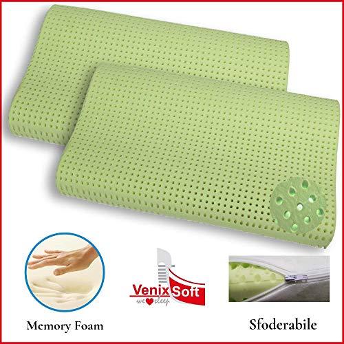 Venixsoft coppia cuscini per letto, sagomato, anti cervicale, trapirante con linfa di aloe vera, dispositivo medico, memory foam, fodera cotone sfoderabile, made in italy, 70 x 40 x 10/12 cm