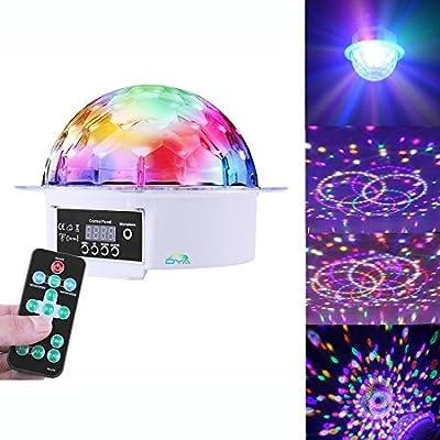 DYA LED Sound Active Party Ball DJ Stage Magic Rotating Crystal for KTV Karaoke Home School Christmas Weddings Clubs Ballroom Bars Decoration Effect Background Light