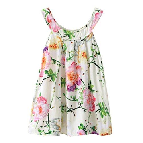 HUIHUI Kleid Mädchen, Toddler Mädchen Kleid Bohemia Ärmellos Tutu Sommerkleid Party Prinzessin Dress Casual T-shirt Beach Kleid Frühlings Herbst Cocktailkleid (130 (5-6Jahr), Grün)