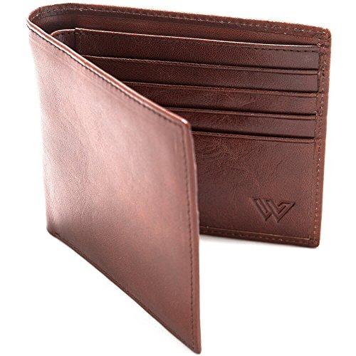 Portefeuille anti RFID pour homme de Walletech | Cuir italien véritable | Protection de carte bancaire maximale avec blocage RFID | Petit porte monnaie classique fin & souple marron