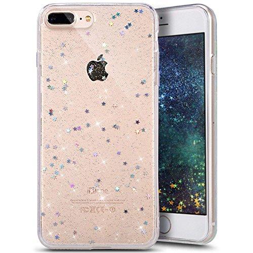 Everwell Kompatibel mit iPhone 7/8 Plus Hülle Transparent, Handyhülle iPhone 7/8 Plus, Ultra Dünn Glitzer Sterne Bling Silikon Case Stoßfest Durchsichtig TPU Cover Schutzhülle