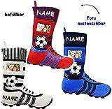 Unbekannt 1 Stück _ XL Fußball _Filzstrumpf -  Fußballschuhe - ROT / BLAU - mit austauschbaren Foto  - incl. Name - 45 cm - Bilderrahmen / Sportverein - Fotosocke - D..