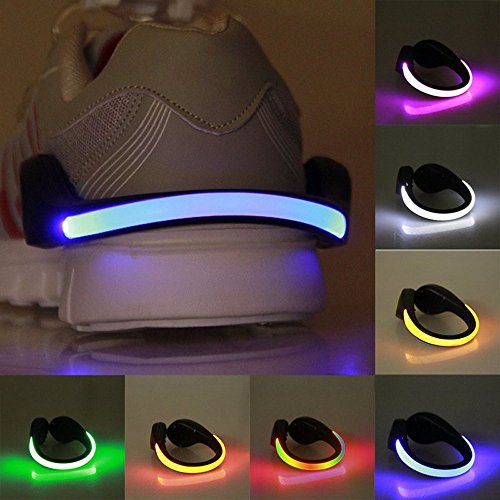 Scarpe antinfortunistiche Efanr 1PCS LED clip luce riflettente flash Night running Gear luci per running jogging passeggiate spinning o bicicletta illuminazione stroboscopica e costante color flash Mode, Blue