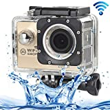 ALLSHOPSTOCK (#33) H16 1080P Portable WiFi Waterproof Sport Camera, 2.0 inch Screen, Generalplus 4248, 170 A+ Degrees Wide Angle Lens, Support TF Card(Gold)