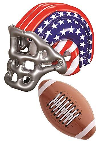 Labreez Aufblasbarer amerikanischer Helm USA Rugby & Fußball Fußball Blow Up Party 2-teiliges Set