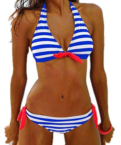 Damen Vintage Casual Streifen Bikini-Sets Push Up Bademode Badeanzug (EU 38 Schild:L, Blau)