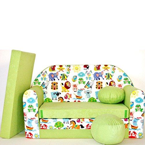 Z5 Minicouch Kindersofa Baby Sofa Set Sitzkissen Matratze (Z5 grün Tiere)