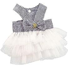 zolimx Ropa de Mascotas, Verano Falda de Rayas de Encaje de Princesa Vestidos de Perro