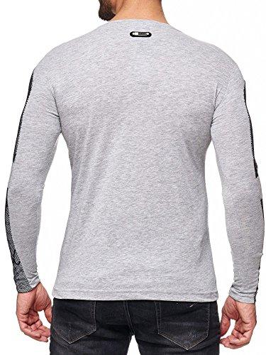 Herren Sweatshirt mit Print und Netz-Details Grau-Melange
