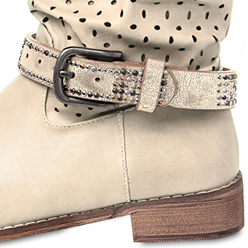 CASPAR Damen Stiefelband / Stiefelschmuck mit Nieten - viele Farben - STB001 Gold Metallic