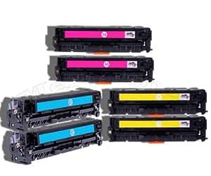 Merotoner–6x Toner pour HP CF 211A, CF 212A, CF 213A, 131x, 131A pour HP Laserjet Pro 200Pro200Color M 251, M 251N, M 276, M 276N/LaserJet Pro 200Color M251M251N M276M276N compatible (C/Y/M)