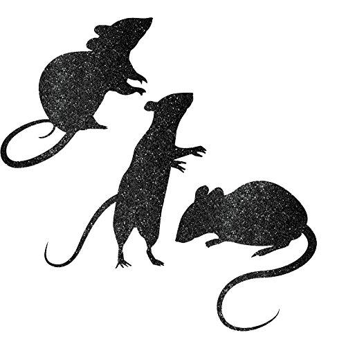 9 Stück DEKO - RATTEN - mit Glitter, sortiert, Nagetiere Horror Tiere