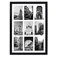 """Golden State Art, 13.6x19.7 Matted Black Wood 9-Opening for 4 x 6"""" Collage Picture Frame"""