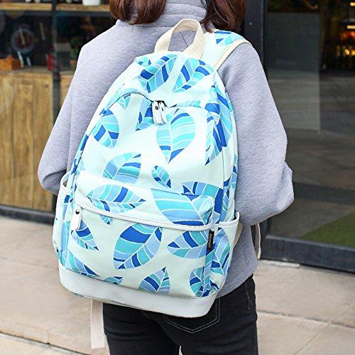 Blätter gedruckt Casual Canvas Rucksack Schultasche Laptop Tasche Rucksack für Jugendlich Junge Mädchen Pink
