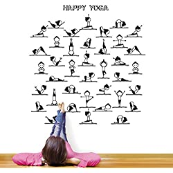 MYVINILO - Vinilo decorativo - Happy yoga / negro (75 cm x 75 cm)