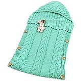 Neugeborenes Baby Kinderwagen Swaddle Decke Button-down Gestrickt Pucktücher Sicherheitsdecken für 0-12 Monat Baby Babydecken Mit Kapuze Kleinkind Wool Pyjamas Schlummersack (Grün)