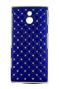 Purple Eyes Sparkling Studded Diamond Back Case For Sony Xperia P Lt22i Royal Blue