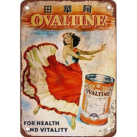 Giapponese ovomaltina Look Vintage Riproduzione in metallo Tin Sign 20,3x