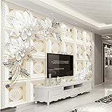 Guyuell Custom 3D Mural Wallpaper Estilo Europeo Sencillo Mármol Roma Pilar Flor De Diamante Telón De Fondo Papel De Pared Sala De Estar Hotel 3D Decoración-200Cmx140Cm
