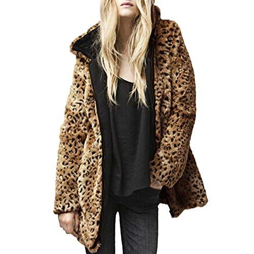 TianWlio Mäntel Frauen Weihnachten Damen Mantel Langarm Strickjacke Jacke Outwear Herbst Winter Kapuzenpelzkragen Mantel Faux Fur Zip Taschenoberbekleidung Lässige Strickjacke