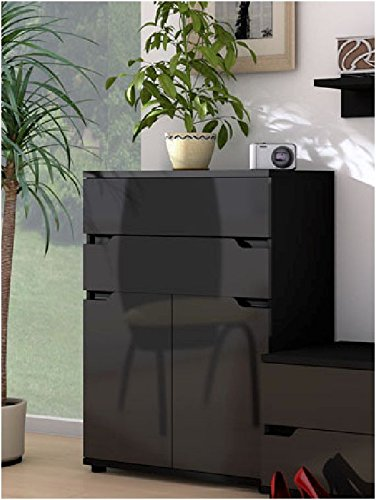 Aspire Black Gloss Tall Sideboard Storage Unit (P980AS01)